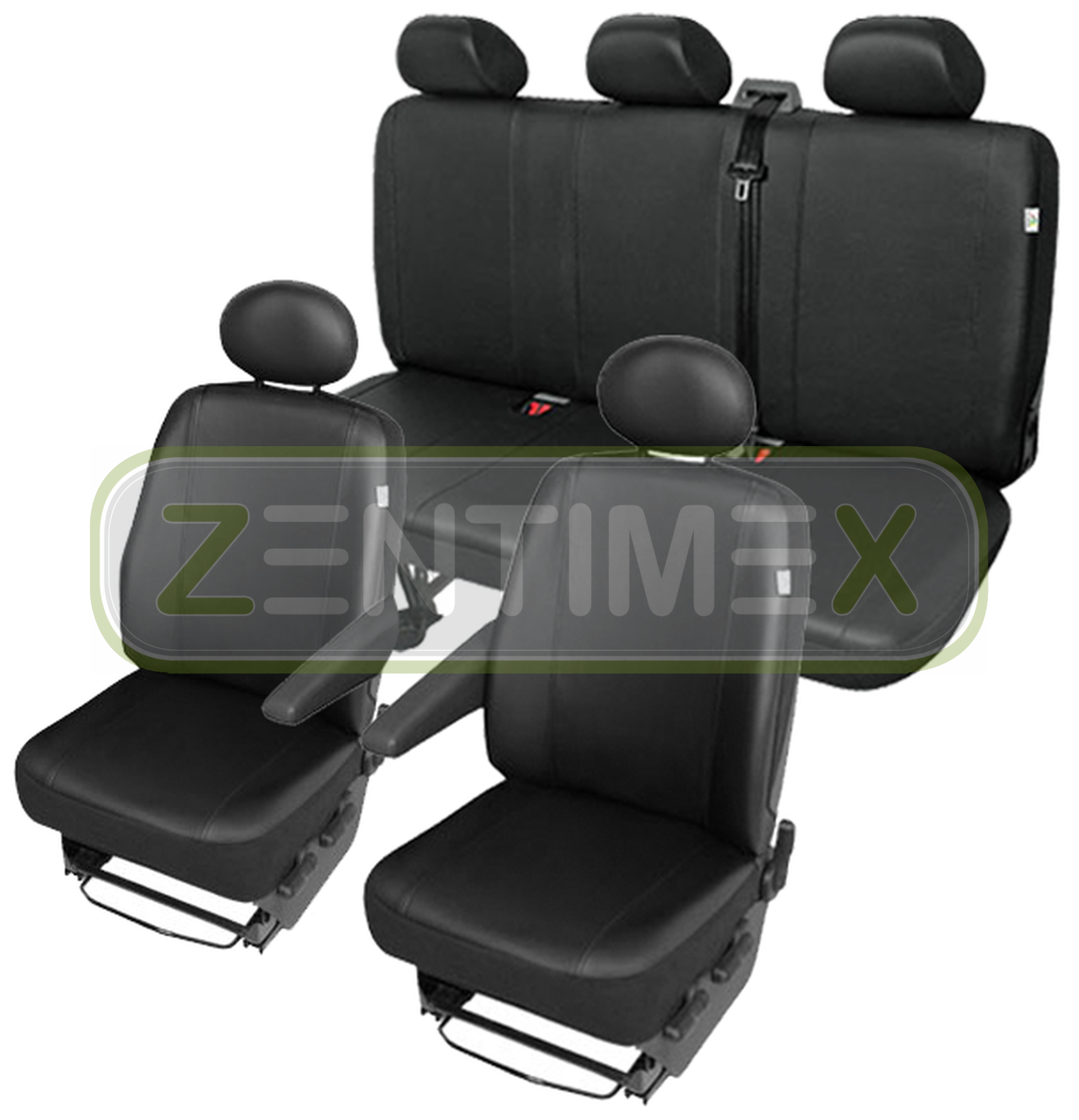 Sitzbezüge Schonbezüge SET QF Fiat Scudo Kunstleder schwarz