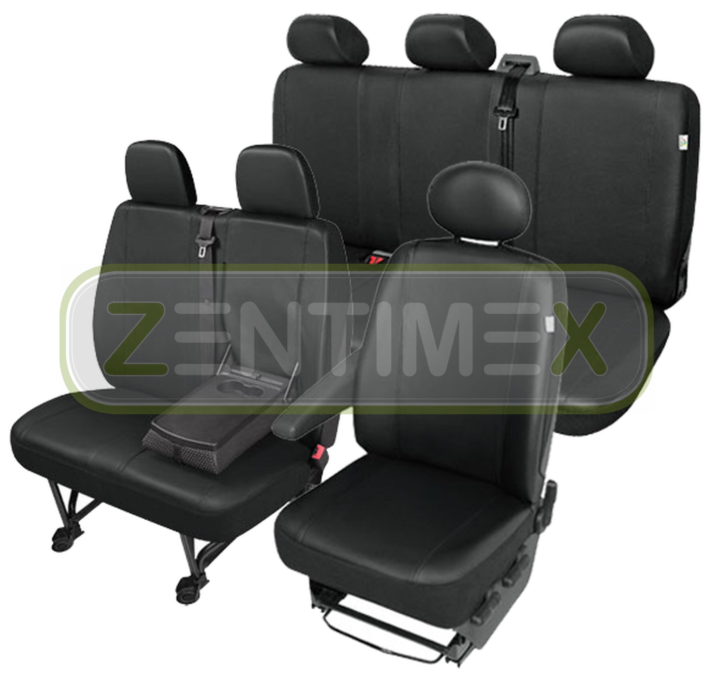 Sitzbezüge Schonbezüge SET QJ VW T4 Caravelle Kunstleder schwarz