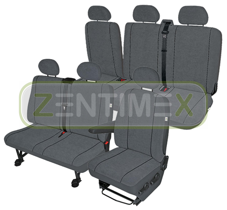 Fundas para asientos ya referencias set am para VW t5 Caravelle sustancia gris oscuro