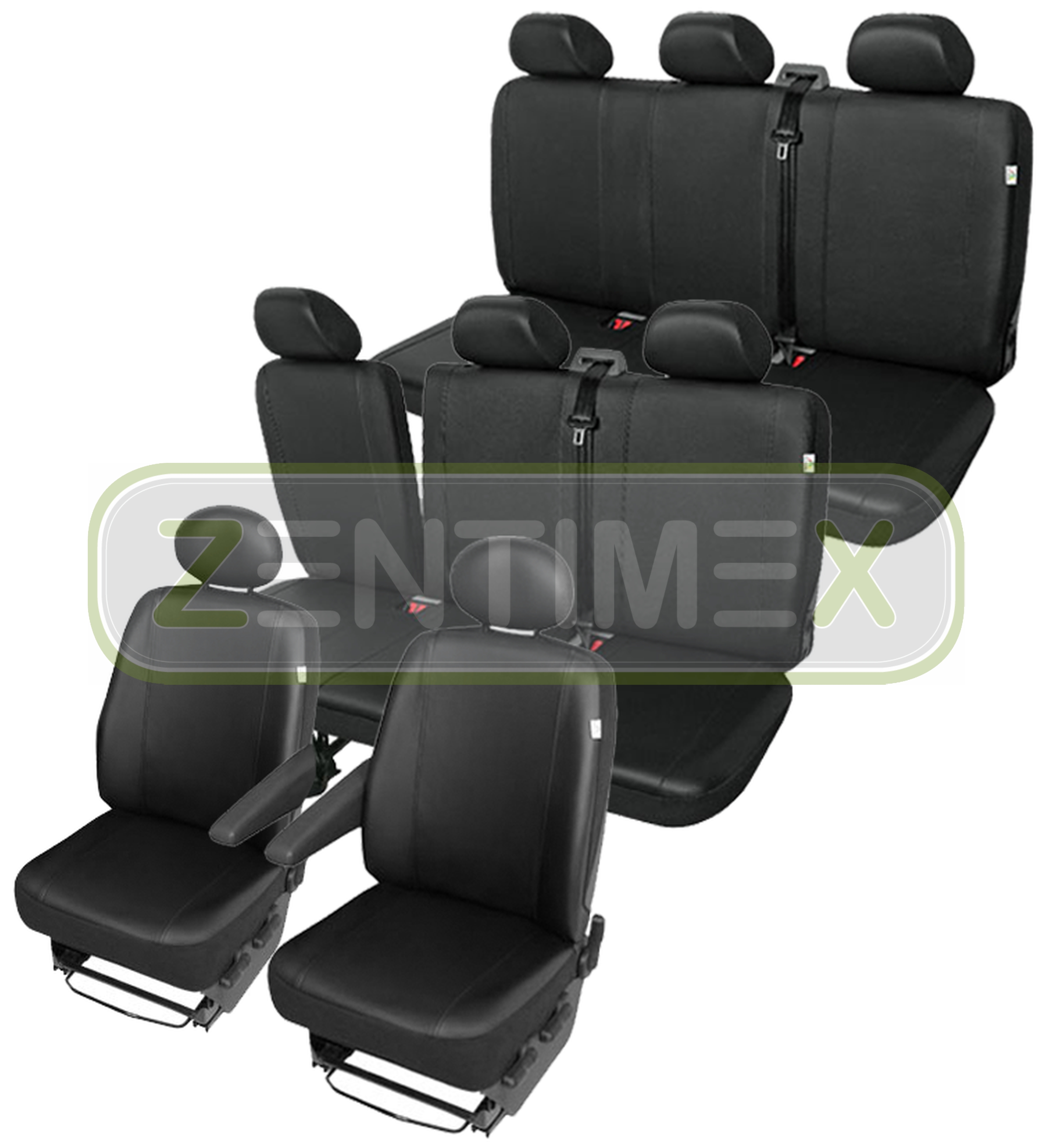 Sitzbezüge Schonbezüge SET QS VW T4 Caravelle Kunstleder schwarz
