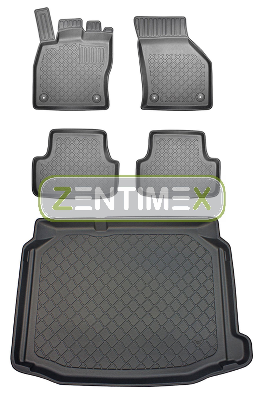 Z330980 SET Kofferraumwanne Gummifußmatten für Seat Leon SC Cupra 290 3 5F Schrä