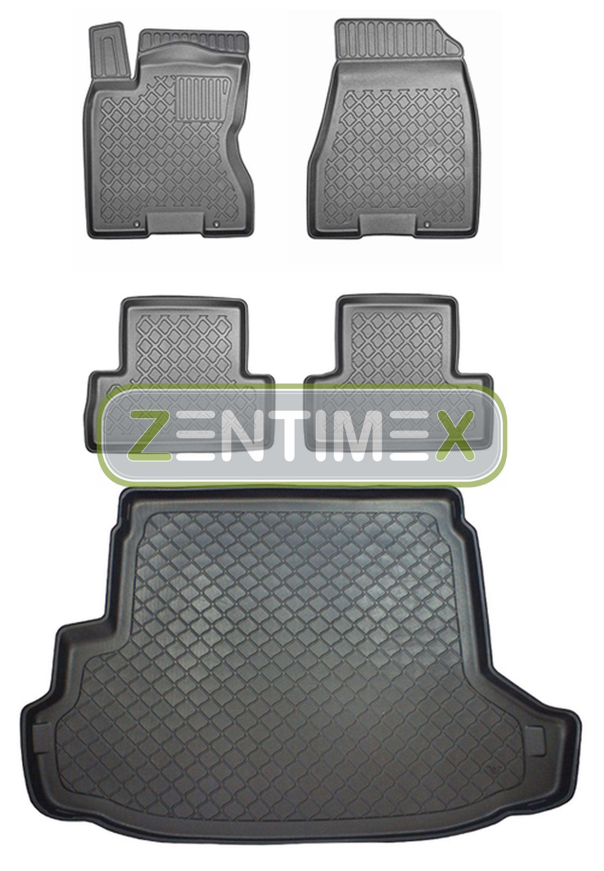 Z330584 SET Kofferraumwanne Gummifußmatten für Nissan X-Trail 3 T32 Facelift Ste
